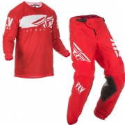 Fly Racing Kinetic Shield Red White Kit Combo