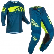 Fly Racing Kinetic Shield Navy Hi Viz Kit Combo