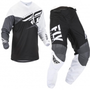 Fly Racing F16 Black White Grey Kit Combo
