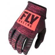 Fly Racing Kinetic Neon Red Black Gloves