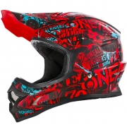 ONeal 3 Series Attack Black Red Teal Motocross Helmet
