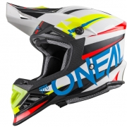 ONeal 8 Series Aggressor White Blue Motocross Helmet