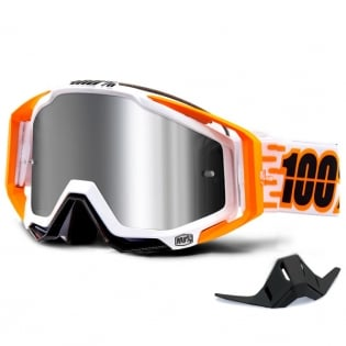 100% Racecraft Plus Illumina Injected Silver Mirror Lens Goggles