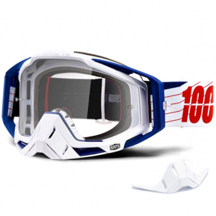 100% Racecraft Bibal White Clear Lens Goggles