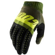 100% RideFit Army Green Lime Fatigue Motocross Gloves