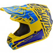 Troy Lee Designs SE4 Factory Yellow Blue Polyacrylite Helmet