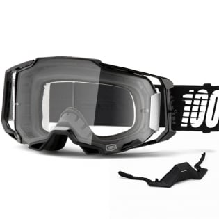 100% Armega Black Essential Clear Lens Goggles