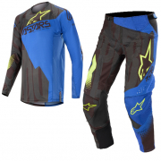 Alpinestars Techstar Factory Black Blue Yellow Fluo Kit Combo