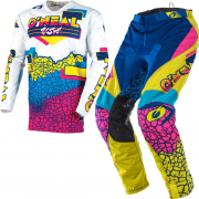 ONeal Mayhem Lite Crackle 91 Yellow White Blue Kit Combo