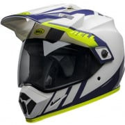Bell MX9 MIPS Adventure Dash White Blue Hi Viz Helmet