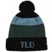 Troy Lee Designs Block Pom Charcoal Stone Blue Beanie