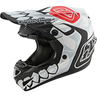 Troy Lee Designs SE4 Skully White Black Composite Helmet