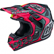Troy Lee Designs SE4 Skully Pink Flo Yellow Composite Helmet