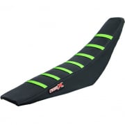 CrossX Stripe Kawasaki Black Black Green Ribbed Seat Cover
