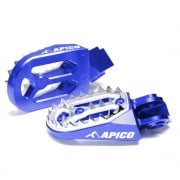 Apico Pro Bite Anodised Wide Foot Pegs - Husqvarna Blue