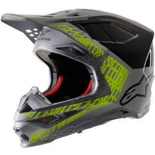 Alpinestars Supertech SM8 Triple Gloss Matt Silver Black Ylw Helmet