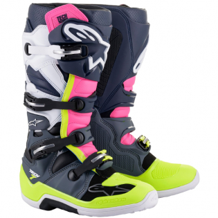Alpinestars Tech 7 Dark Grey Blue Pink Fluo Boots