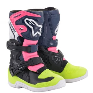 Alpinestars Kids Boots Tech 3S - Black Dark Blue Pink Flou