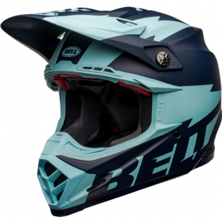 Bell Moto 9 Carbon Flex Breakaway Matte Navy Light Blue Helmet