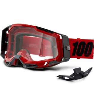 100% Racecraft 2 Red Clear Lens Goggles