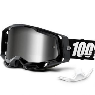 100% Racecraft 2 Black Silver Mirror Lens Goggles