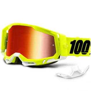 100% Racecraft 2 Yellow Red Mirror Lens Goggles