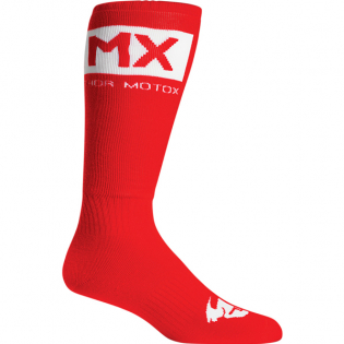 Thor MX Solid Red White Boot Socks