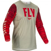 Fly Racing Kinetic Wave Light Grey Red Jersey